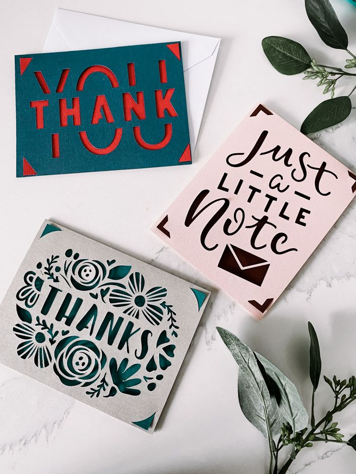 easy thank you cards with the cricut joy in less than 5