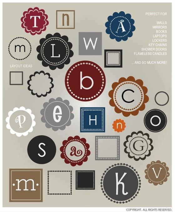 Monogram frames - vinyl decals