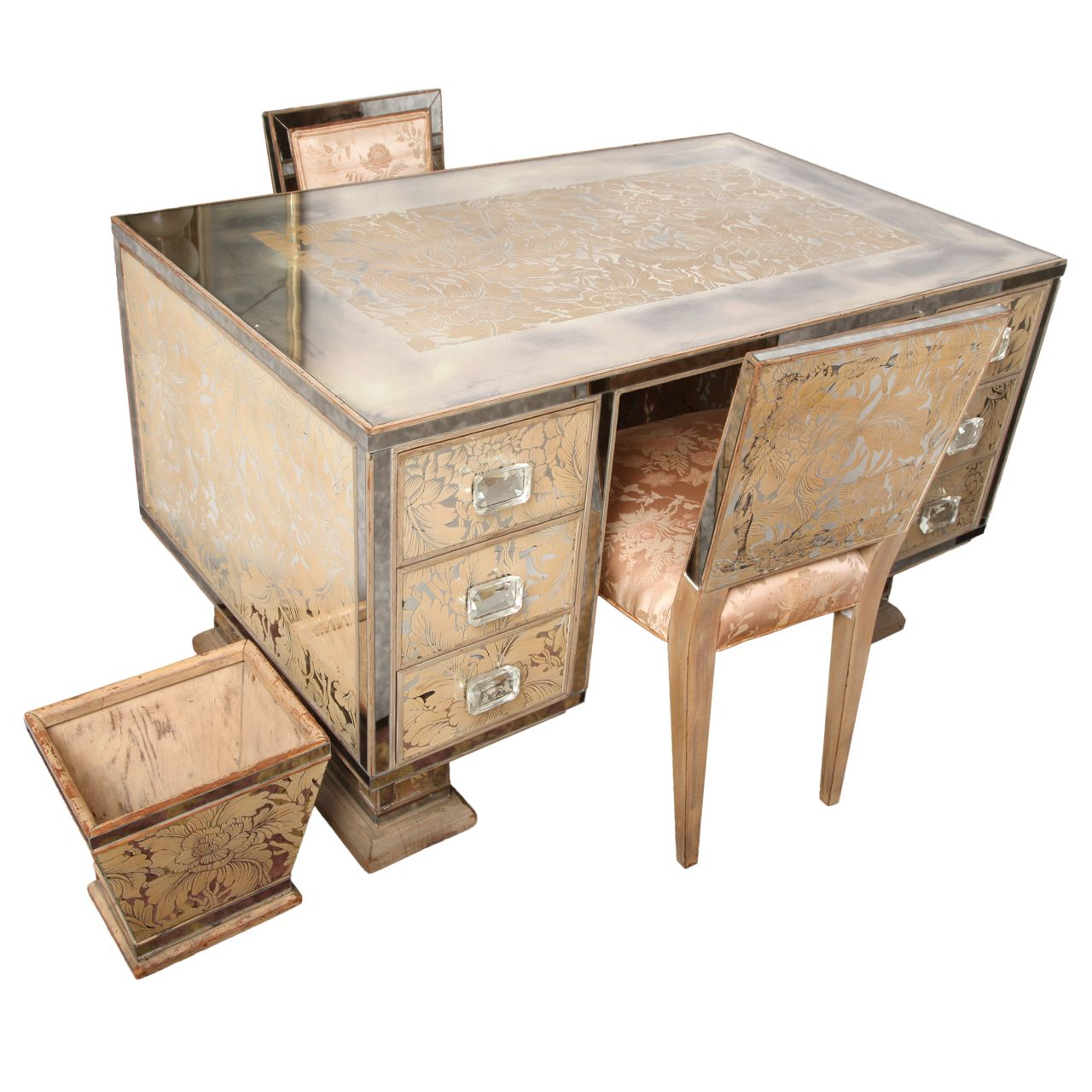 Art Deco Eglomise Mirrored Twin Vanity/Desk With Chairs and Waste Basket,France, c 1930's.
