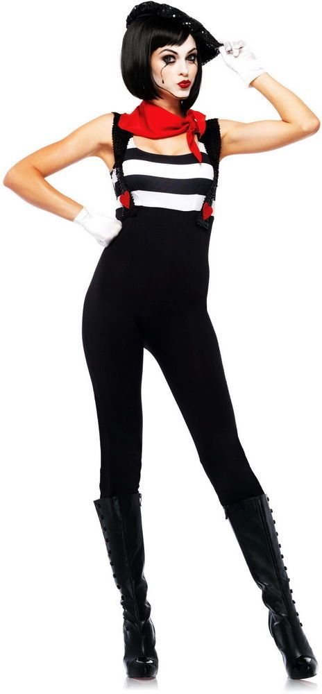 Paris French Mime Sequin Catsuit Beret Halloween Costume Outfit