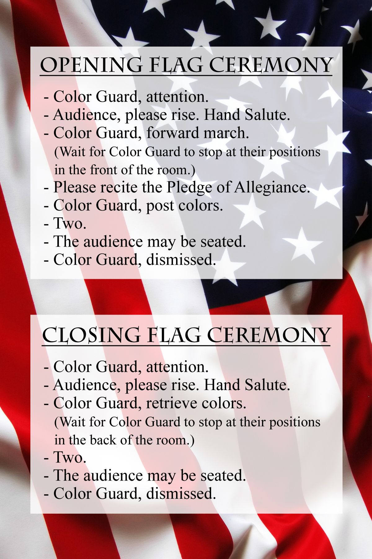 graphic regarding Cub Scout Flag Ceremony Printable named Right after observing plenty of of the boys neglect toward say, \
