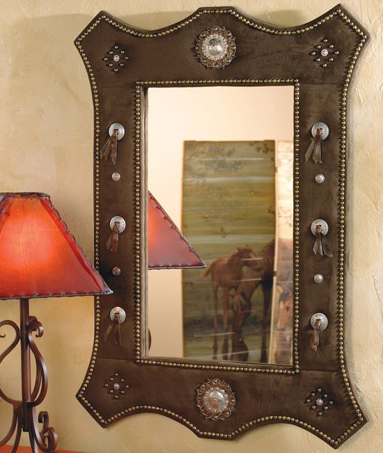 Brown Suede Western Mirror Western Home Decor Espejos Mirrors And Relojes Clocks