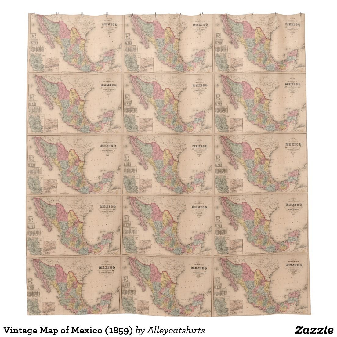 Vintage Map Of Mexico 1859 Shower Curtain