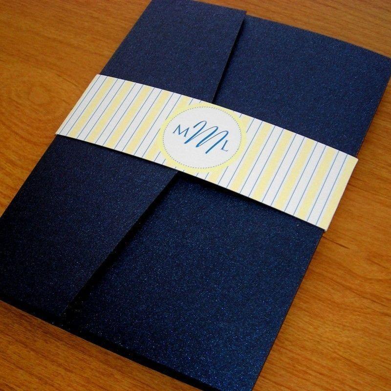Navy And Yellow Wedding Invitation Set Sample