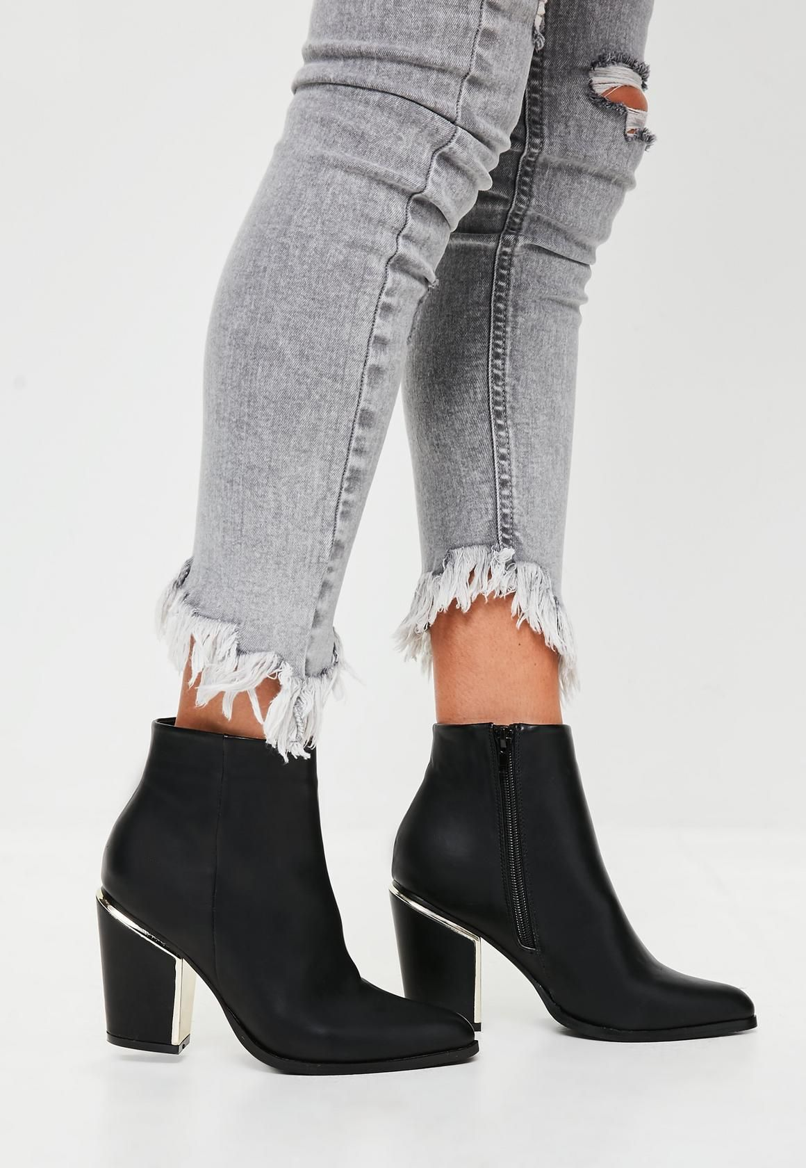 00b1daac6c5 Missguided - Black Gold Trim Block Heeled Boots | threads | Boots ...