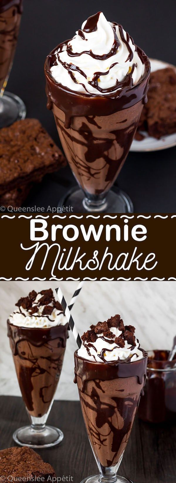 Brownie Milkshake This Brownie Milkshake is a super decadent treat every chocolate lover should taste at least once! Loaded with brownie chunks and decorated with ganache, this milkshake is packed with delicious chocolate flavour.