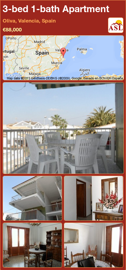 3-bed 1-bath Apartment in Oliva, Valencia, Spain ►€88,000 #PropertyForSaleInSpain