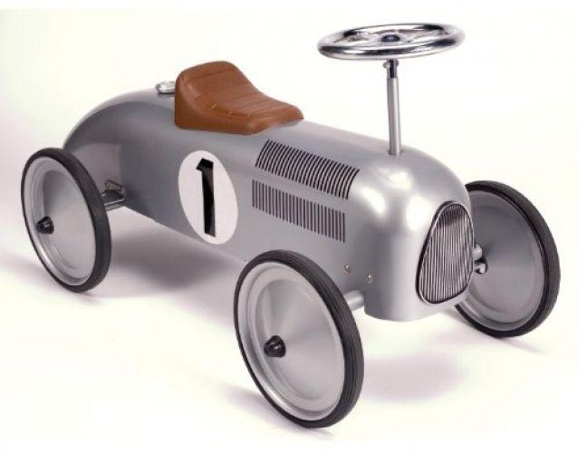 metal racecar speedster car boys kids retro vintage toy collectible silver 20s