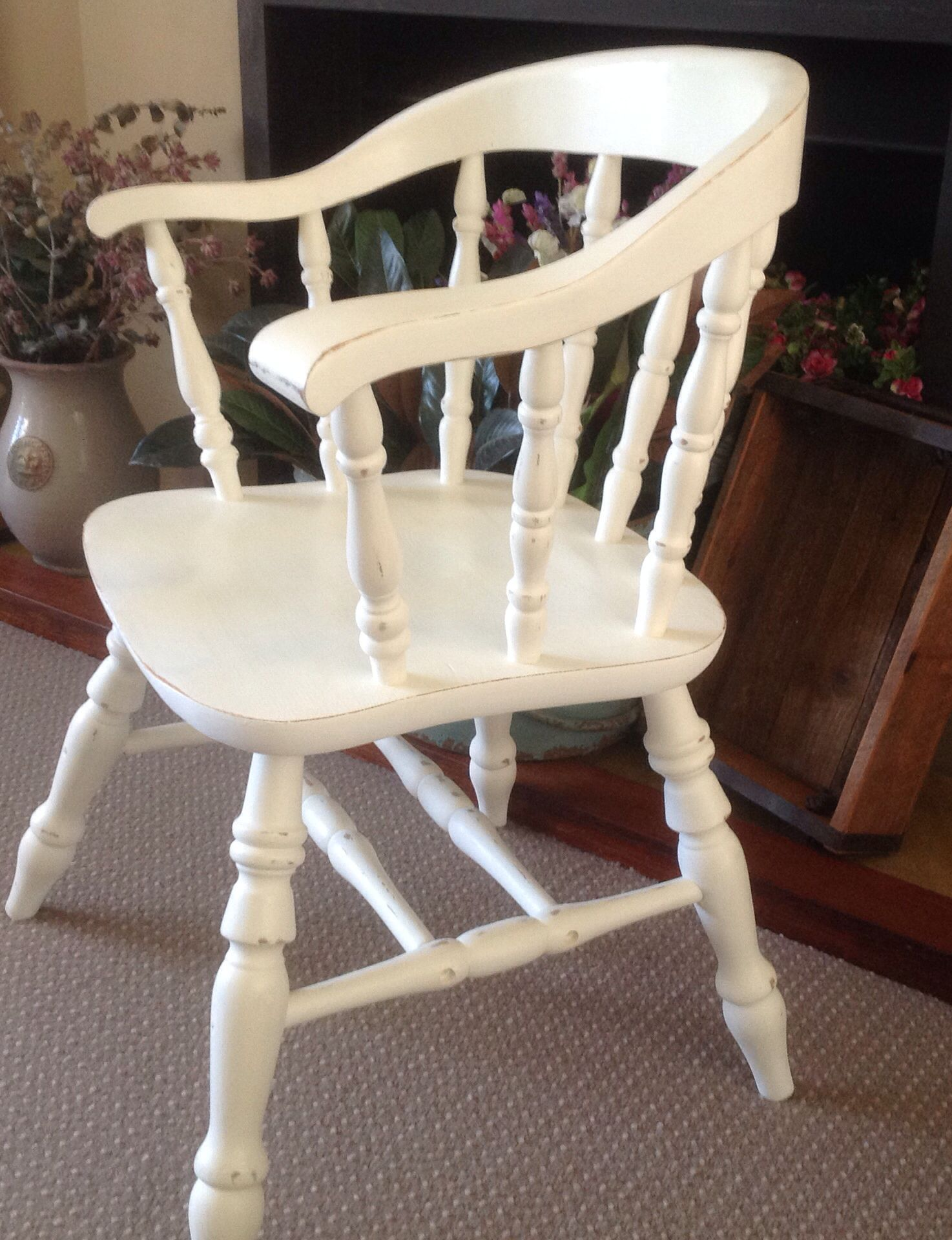 Old White restored comfy country cottage chairs by Suellen at Marion's Vintage Country Wares
