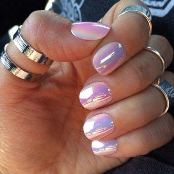 Rainbow Pearlescent Iridescent White Unicorn Chrome Nails