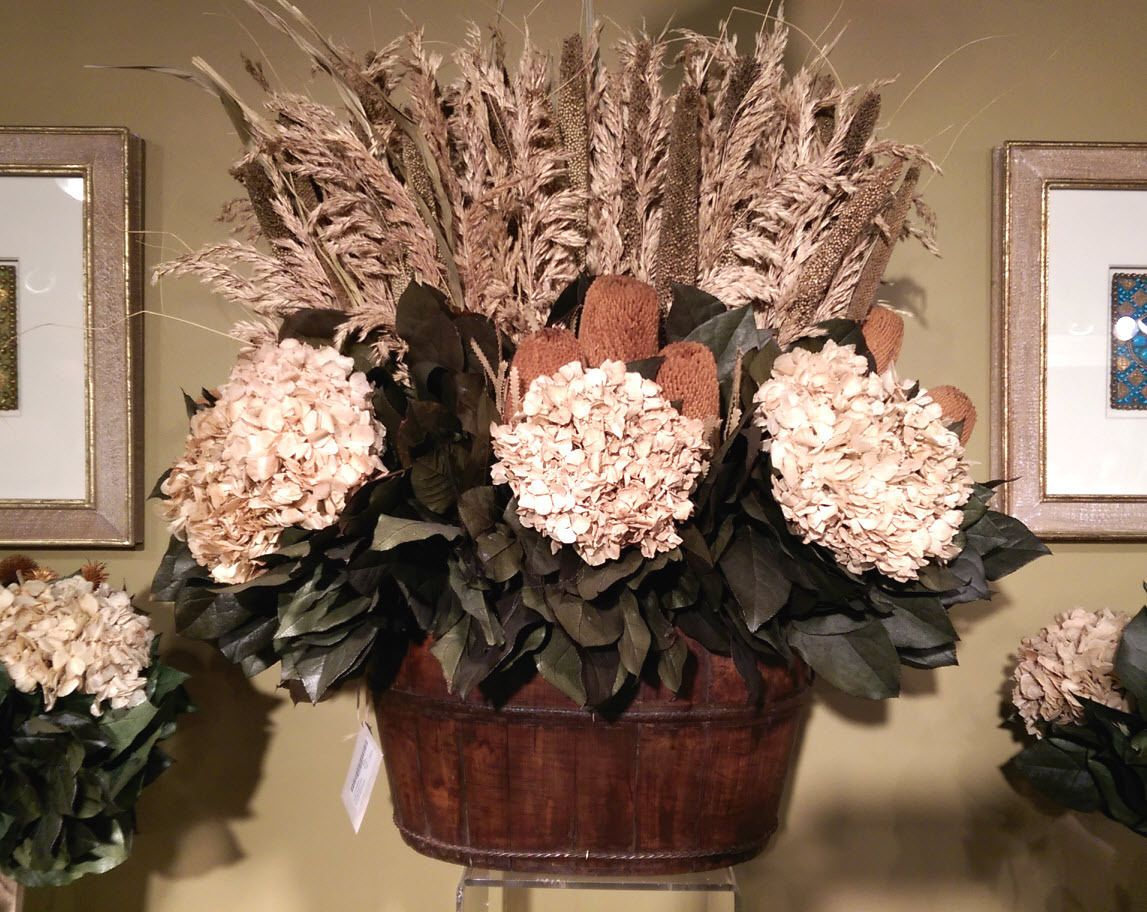 Huge preserved dried ivory hydrangea flower arrangement