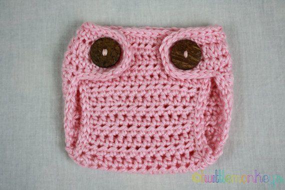 READY TO SHIP Pink Newborn Crochet Diaper Cover  by TwittleMonkeys, $11.00