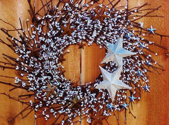 Summer Wreaths for the Door-Front Door Wreath-4th of July-RUSTIC WHITE & Summer Wreaths for the Door-Front Door Wreath-4th of July-RUSTIC ...