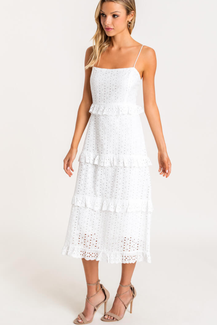 White Dress Eyelet Lace Dress Tiered Dress Midi Dress Bohopink Tiered Midi Dress Eyelet Lace Dress Mini Dress With Sleeves [ 1280 x 854 Pixel ]