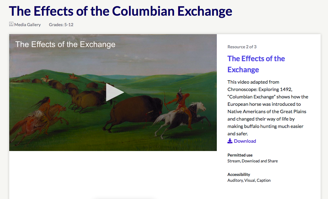 The Effects of the Columbian Exchange PBS LearningMedia