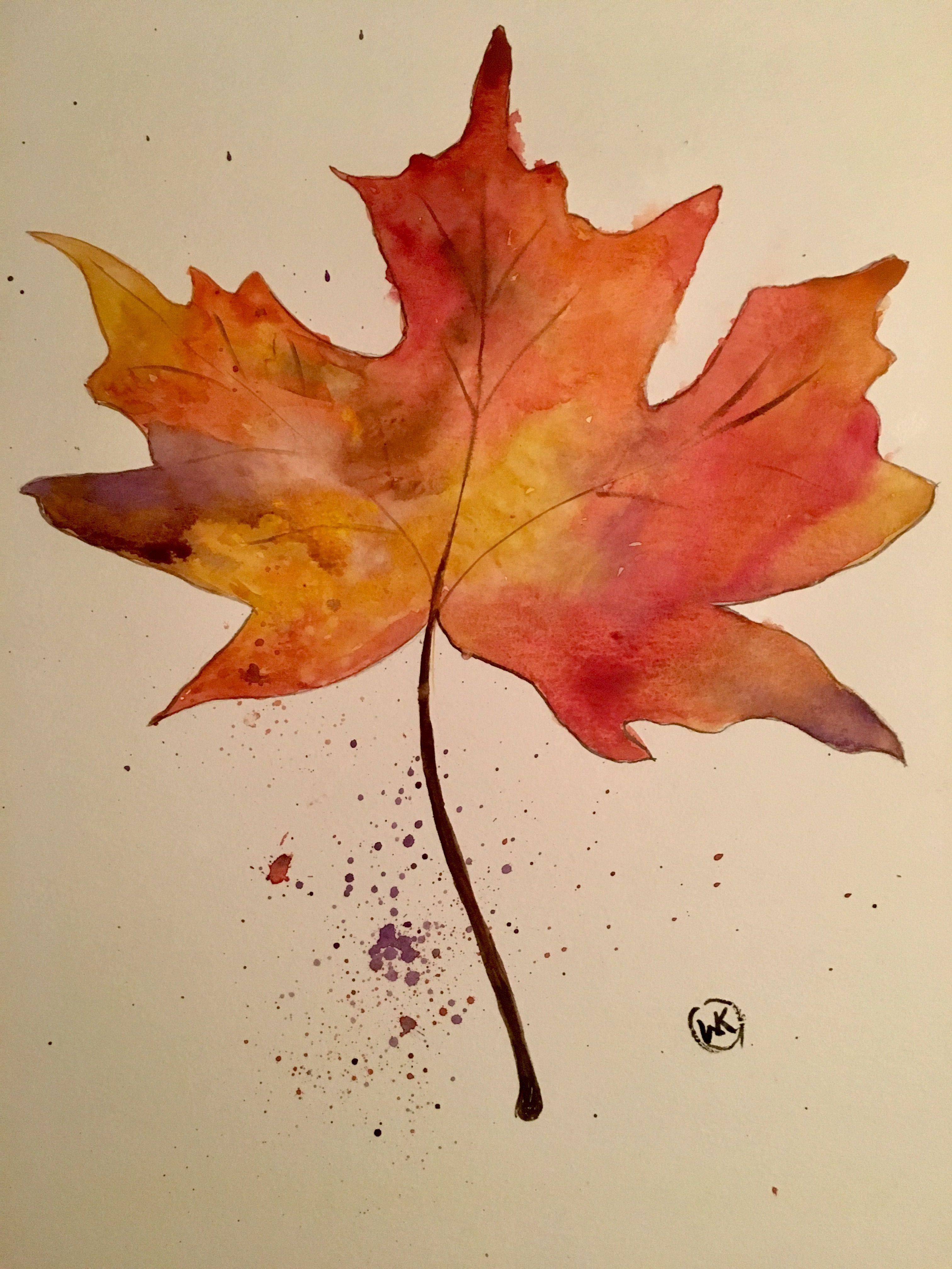 Maple Leaf Watercolor My Art Maple Leaf Drawing Leaf Drawing