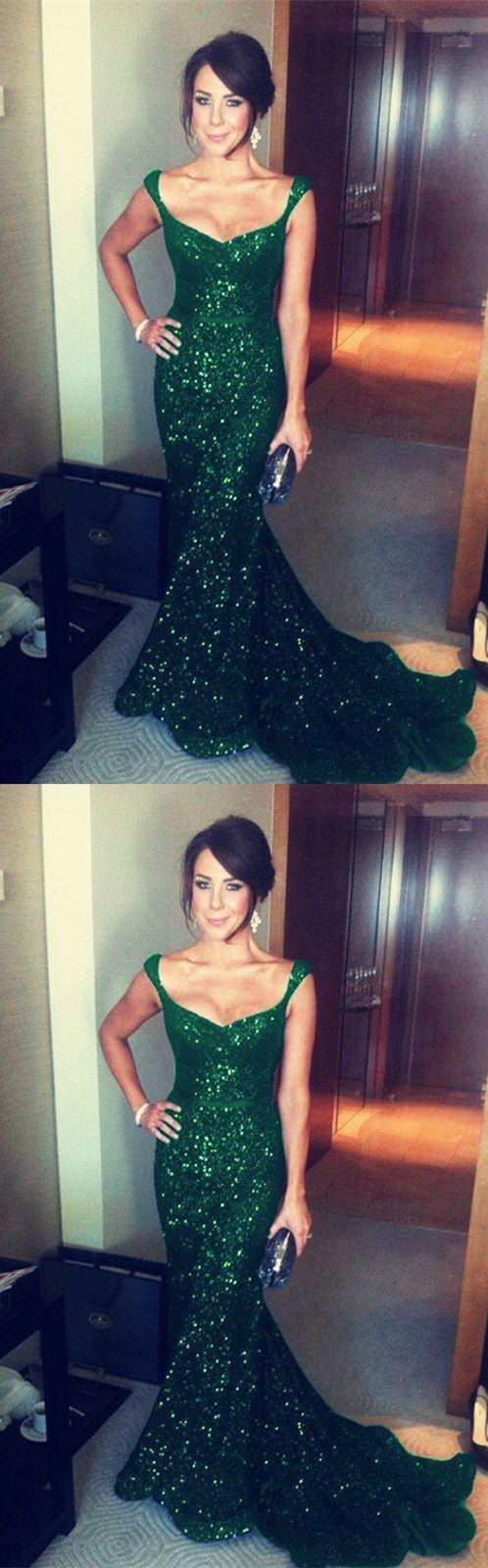Luxurious dark green sequins vneck corset mermaid evening dresses