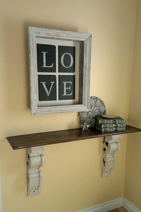 Entry shelf> stain a shelf and support with huge corbels for an ...