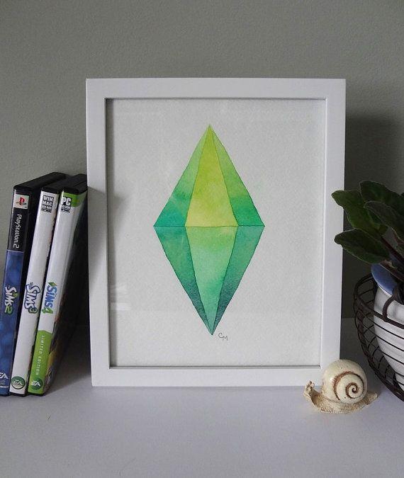Sims Plumbob Sim Marker // Watercolor Print от EverlastingFantasy