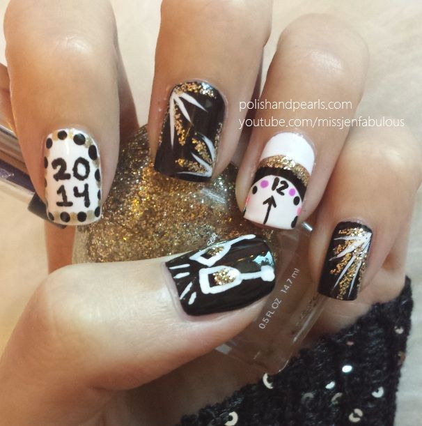 Watch this New Year\'s Eve nail art video tutorial and start painting ...