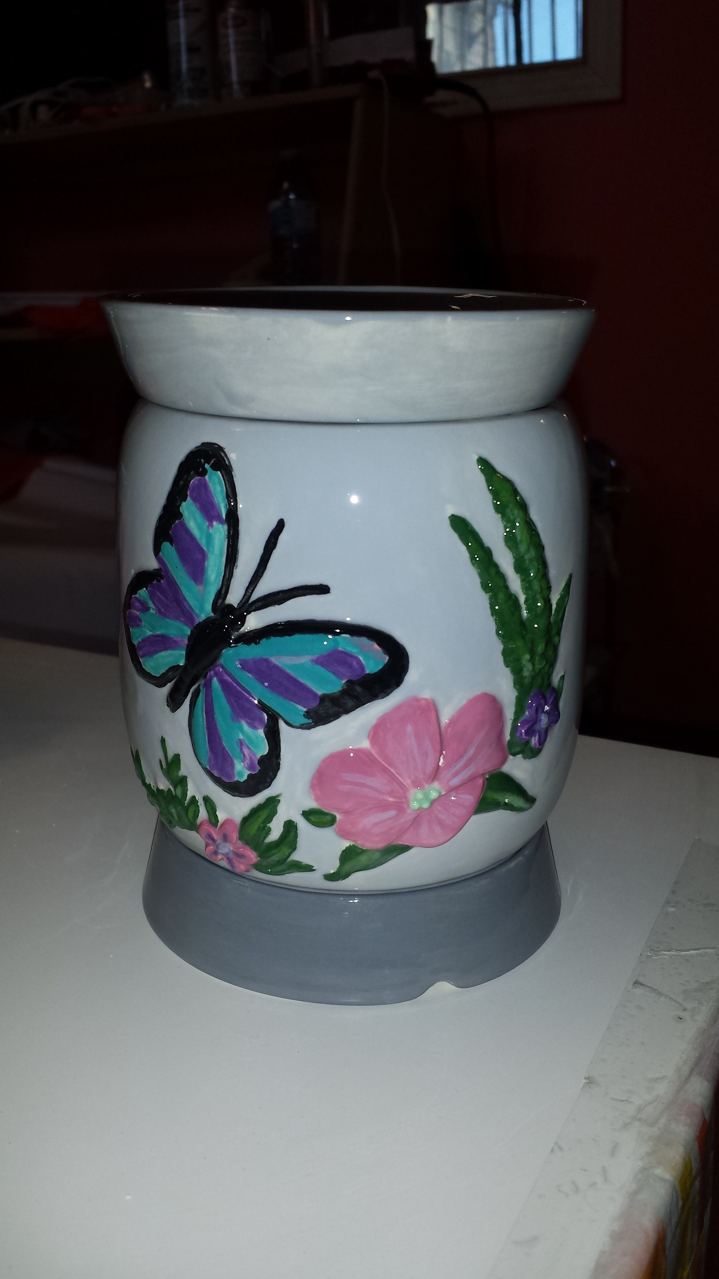 Wax Warmer  I helped a friend paint at The Painted Turtle Pottery Studio