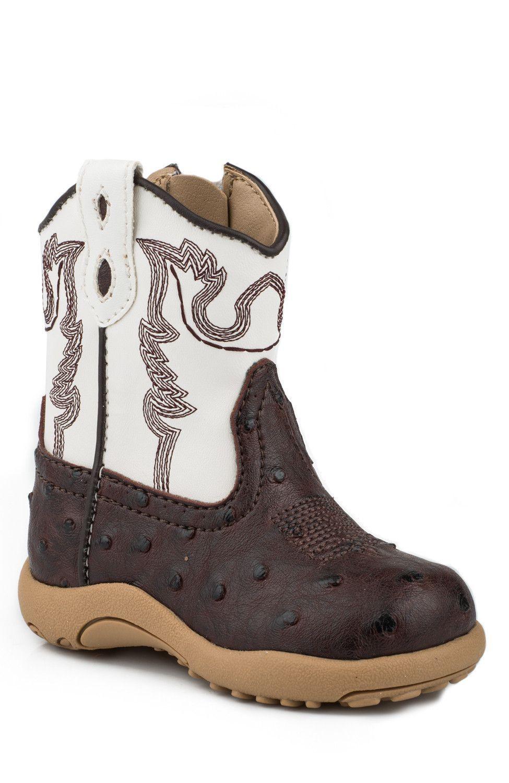 b834192470f Roper Newborn Boys Boots Brown Faux Leather Ostrich Zip Cowbabies ...