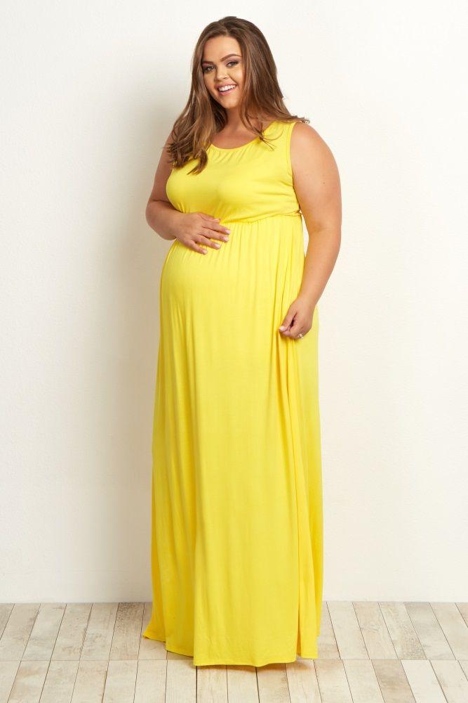 4d7e5af015b74 Yellow Basic Sleeveless Plus Maternity Maxi Dress | Kid Stuff ...