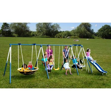 Sportspower Outdoor Super 8 Fun Metal Swing Set With 6ft Heavy