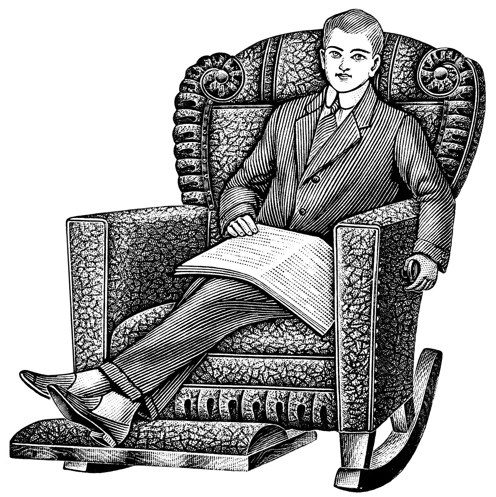 Black And White Clipart Old Catalogue Listing Vintage Recliner Chair Young Man Sitting In Clip Art Illustration Morris Rocker Ad