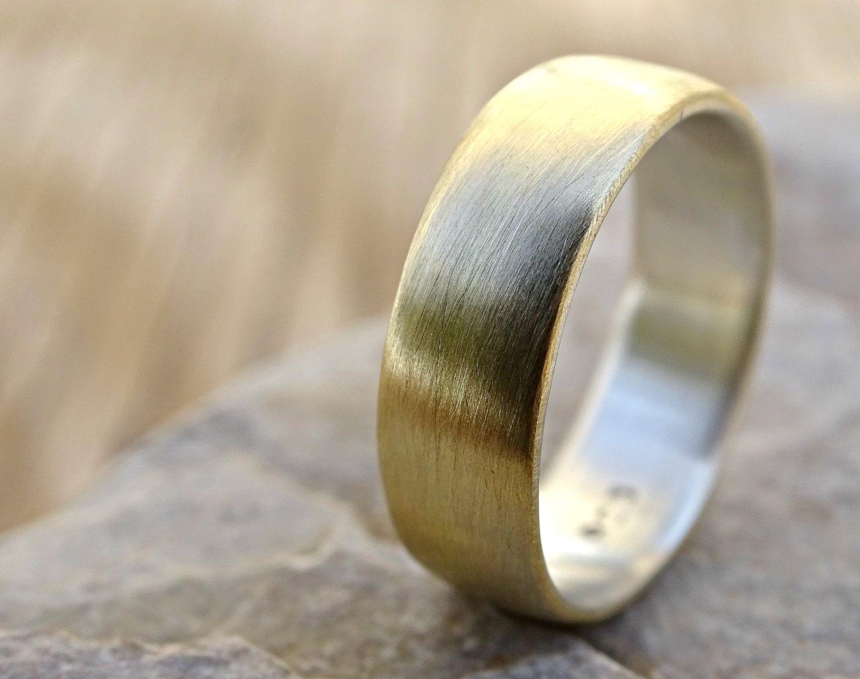 Brass Wedding Ring Domed Brass Ring Silver Mens Ring Silver Etsy In 2021 Rings For Men Mens Silver Rings Sterling Silver Wedding Rings