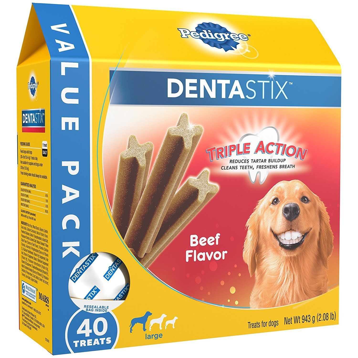 Dog Chews And Treats 77664 Pedigree Dentastix Beef Flavor Large