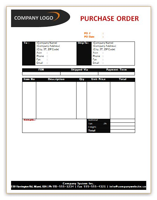 Purchase Order Template http\/\/wwwsavewordtemplatesorg\/purchase - excel po template
