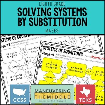 Solving Systems By Substitution Pinterest Equation Students And