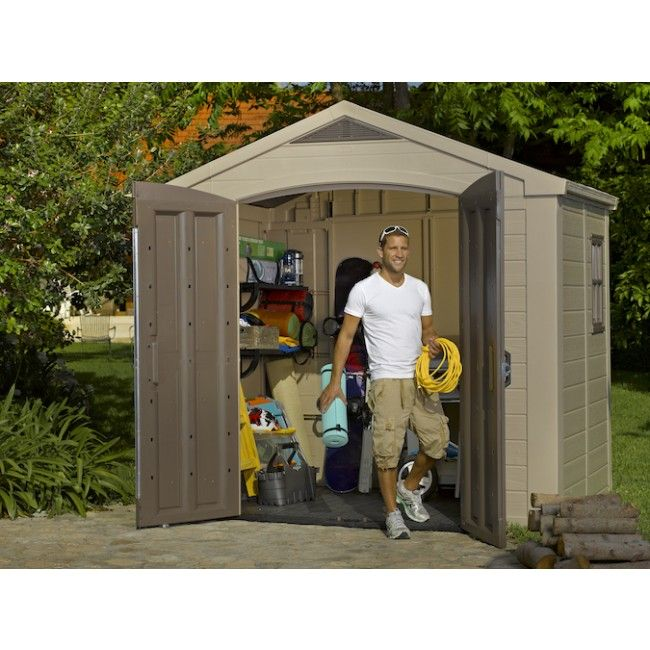 Charming Factor 8x6 Resin Garden Shed 2.56m X 1.82m With FREE Accessories   Cheap  Sheds