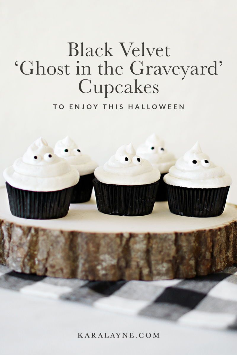 Delicious and simple recipe for black velvet cupcakes that you can turn into ghost cupcakes for Halloween this year! The little ones love making them and we all enjoy eating them. Get the full recipe over on Haus of Layne!