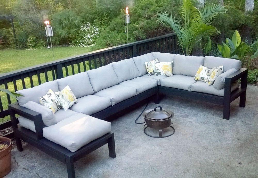 armless 2x4 outdoor sofa sectional
