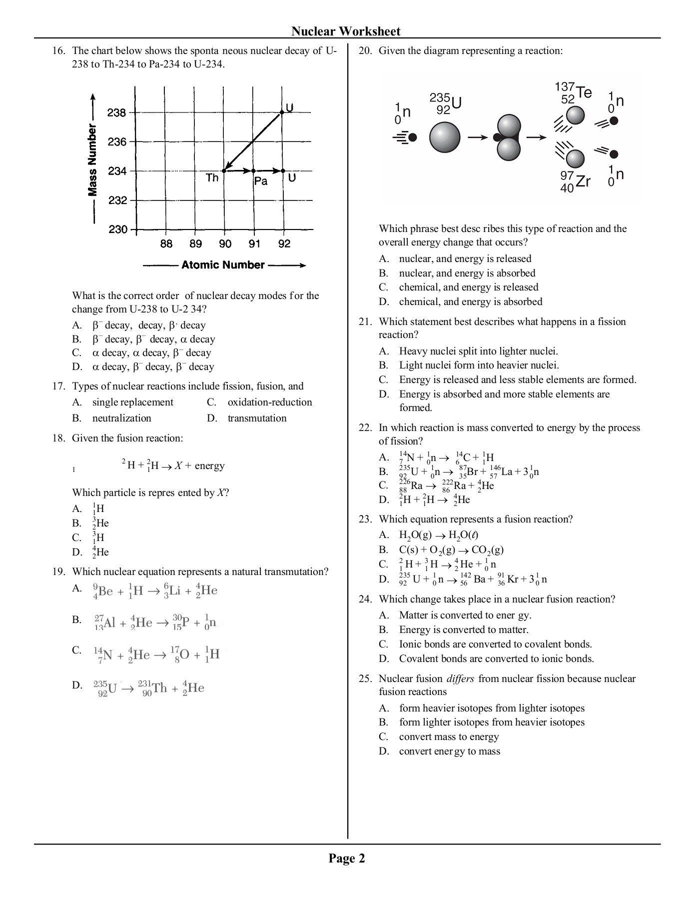 Nuclear Chemistry Review Worksheet Regents Review Nuclear