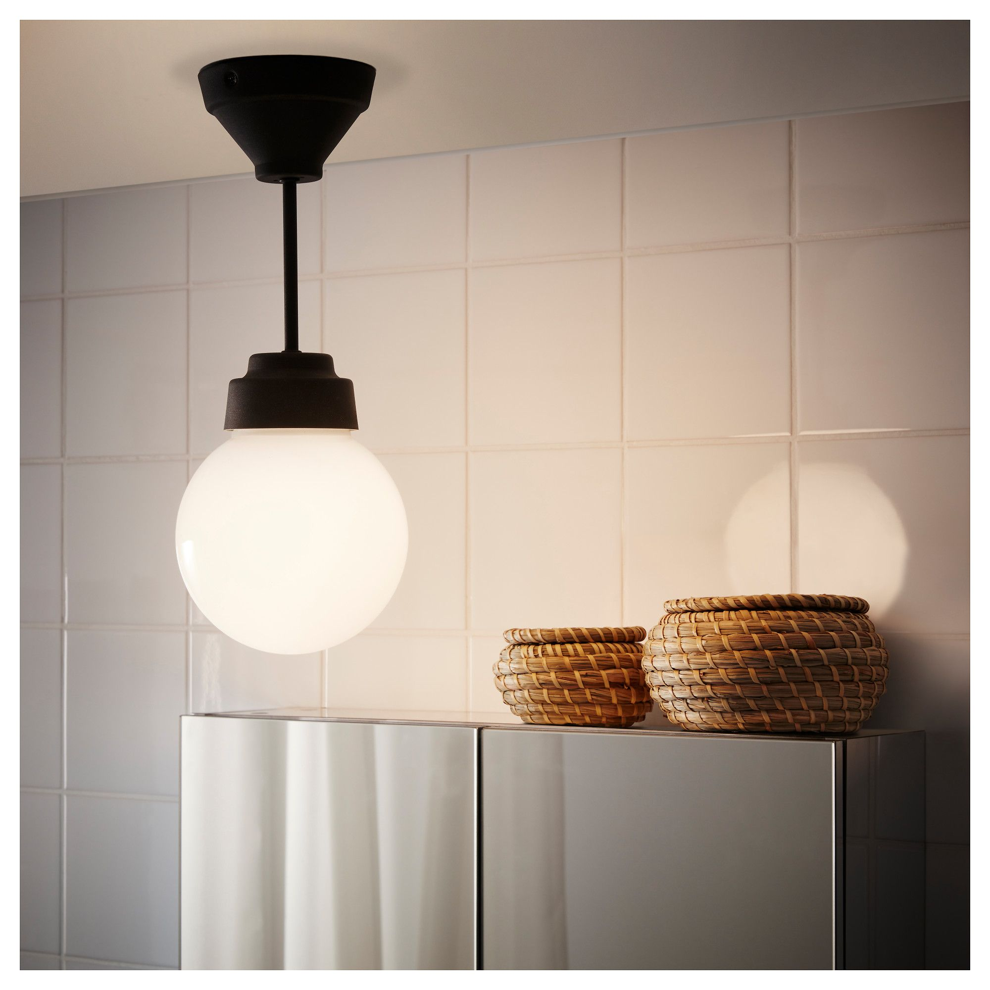 High Quality IKEA VITEMÖLLA Ceiling Lamp Metal/glass Gives A Diffused Light; Good For  Spreading Light Into Larger Areas Of A Bathroom.