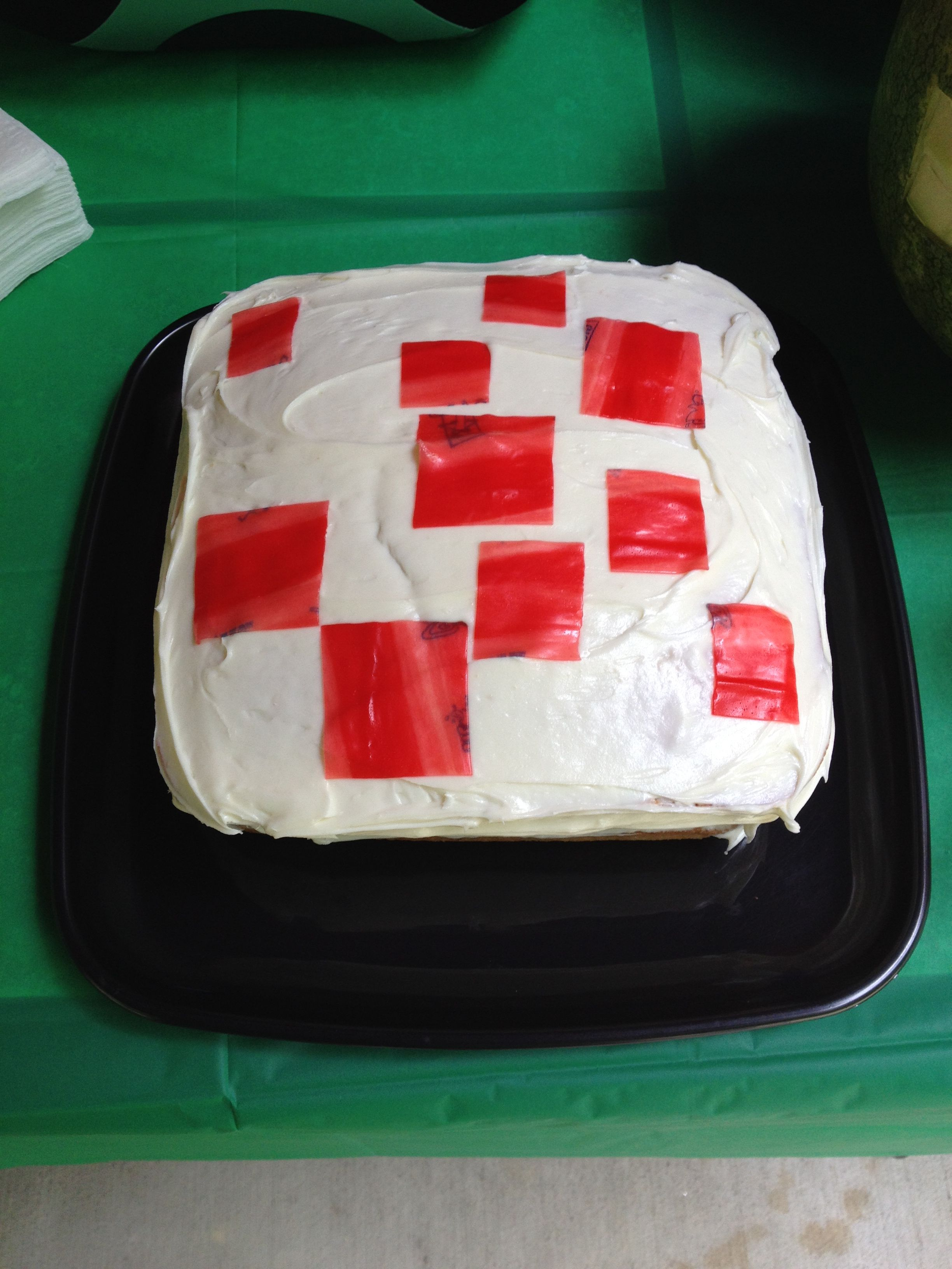 Homemade Minecraft Birthday Cake Red Squares Made From Fruit Roll
