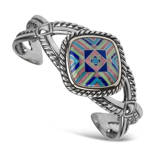 Amazon.com: Southwest Spirit Sterling Silver Multi-Gemstone Inlay Geometric Cuff Bracelet: Jewelry