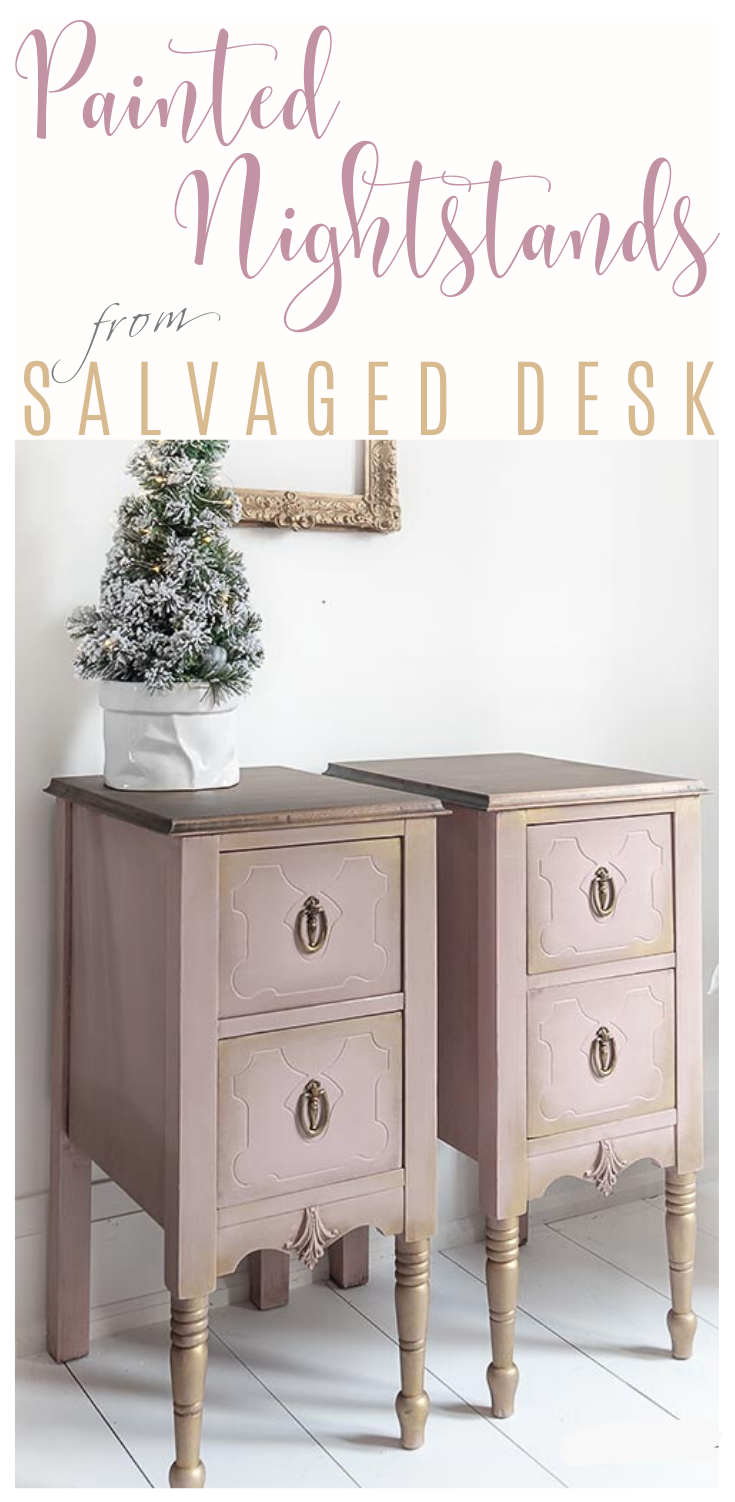 Painted Nightstands from Salvaged Desk | Nightstand Makeover from an Old Desk | Salvaged Inspirations   #siblog #salvagedinspirations #paintedfurniture #furniturepainting #DIYfurniture #furniturepaintingtutorials #howto #furnitureartist #furnitureflip #salvagedfurniture #furnituremakeover #beforeandafterfurnuture #paintedfurnituredieas #paintedfurniture #painteddeskideas