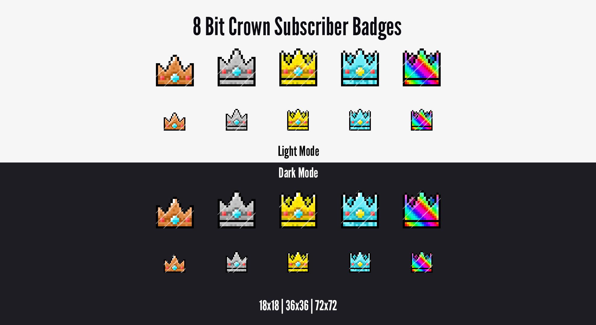 Twitch Subscriber Bit Loyalty Badges 8 Bit Pixel Crown Text Emotes Badge Twitch