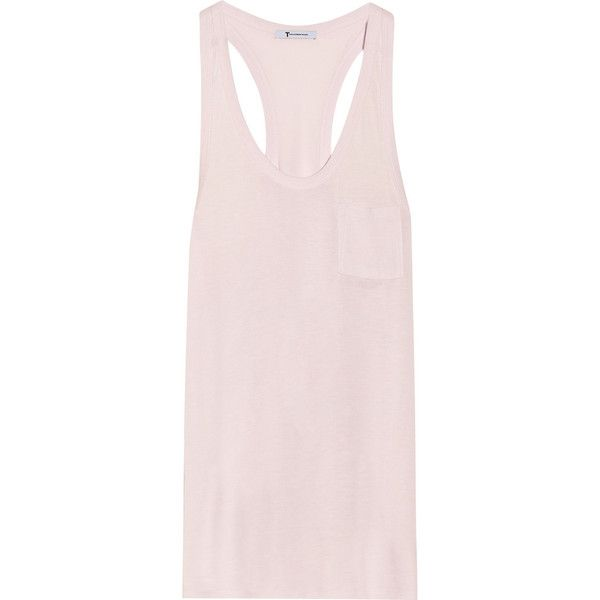 T by Alexander Wang Classic jersey racer-back tank ($31) ❤ liked on Polyvore featuring tops, alexander wang, tank tops, tanks, blush, racerback tank, loose tank tops, pink tank, loose fitting tanks and pink jersey