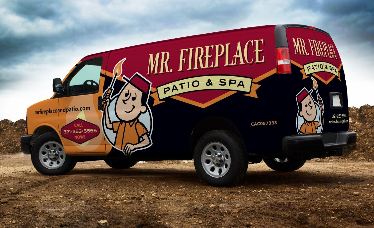 Retro Vehicle Wrap Design For A Fireplace Gas And Spa Company Based