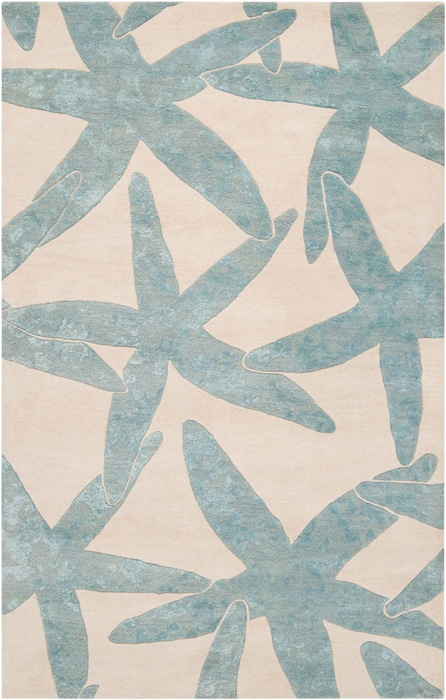 escape starfish area rug - foggy blue on ivory: beach decor