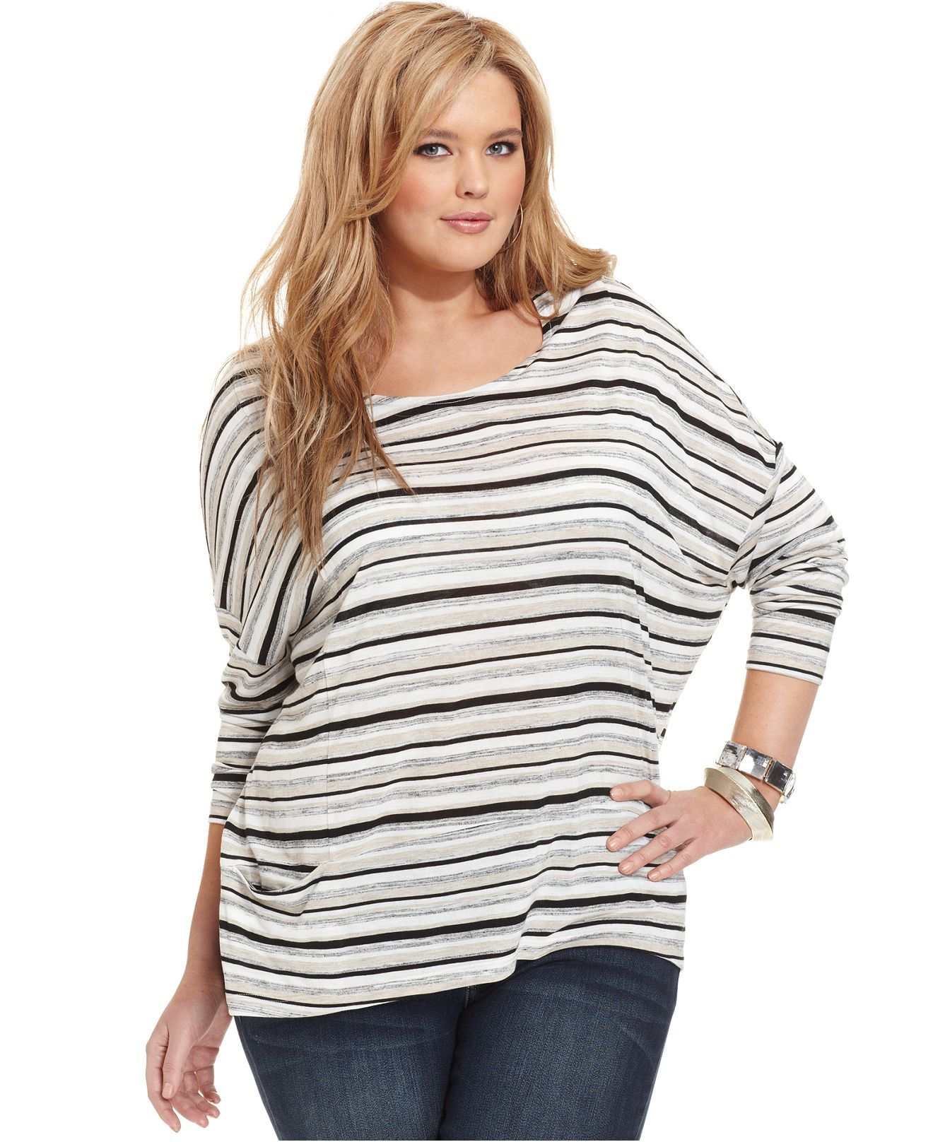 Cha Cha Vente Plus Size Top, Three-Quarter-Sleeve Striped - Plus Size Tops - Plus Sizes - Macys