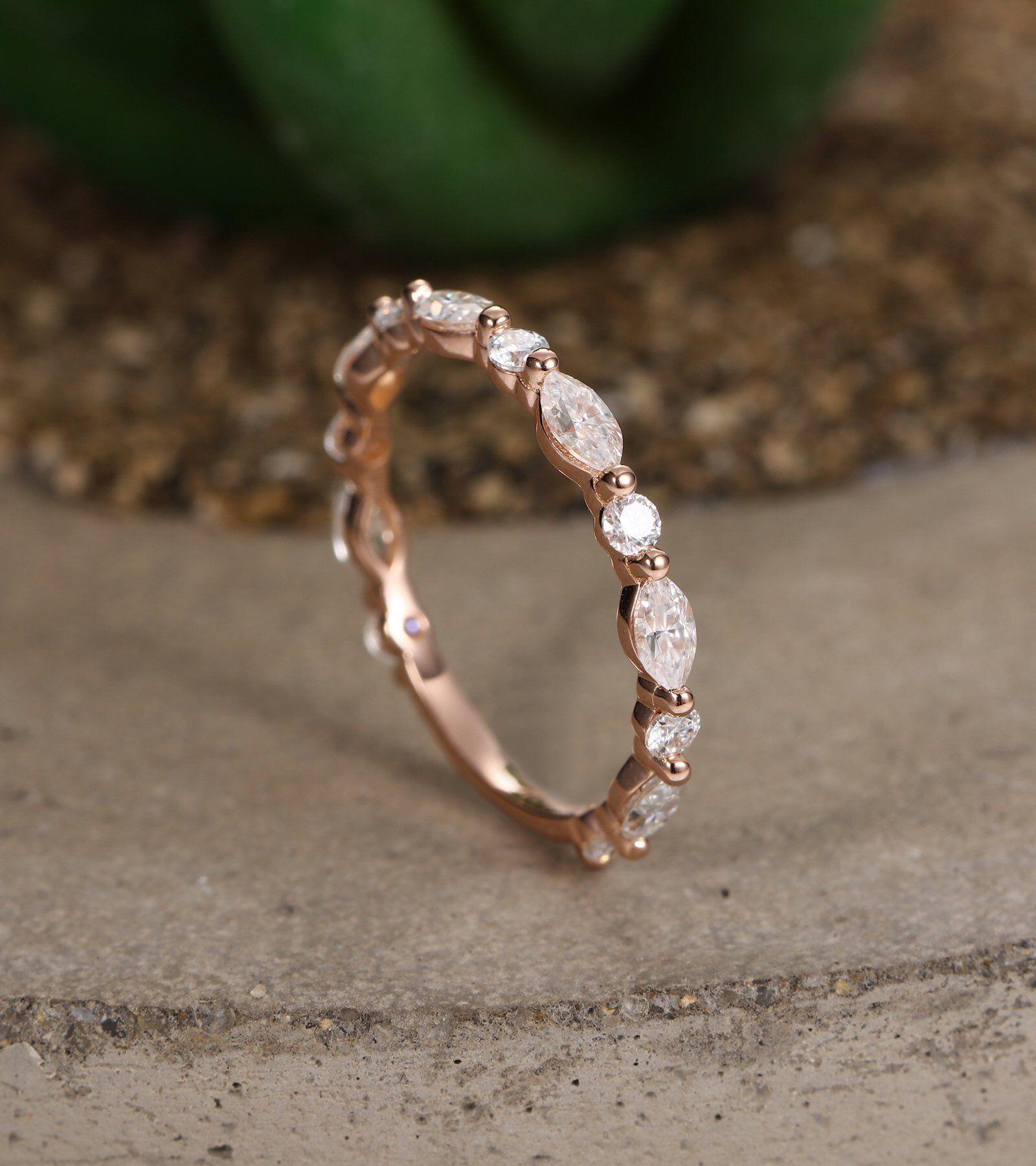vintage milgrain stacking matching bridal jewelry promise ring anniversary gift for her DiamondMoissanite rose gold wedding band women