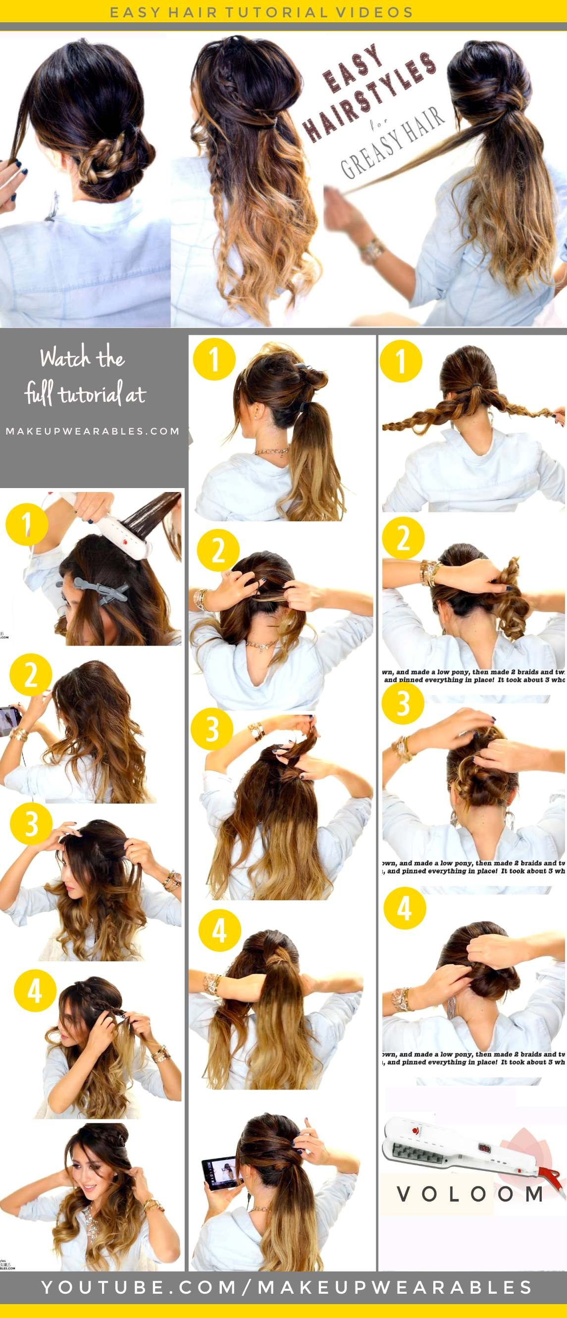 4 Easy Hairstyles For Greasy Hair Cute Everyday Styles Greasy Hair Hairstyles Hair Styles Long Hair Updo
