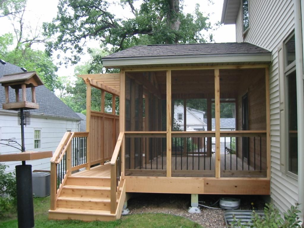 Small Screened In Back Porch Ideas With Natural Wooden And Grey
