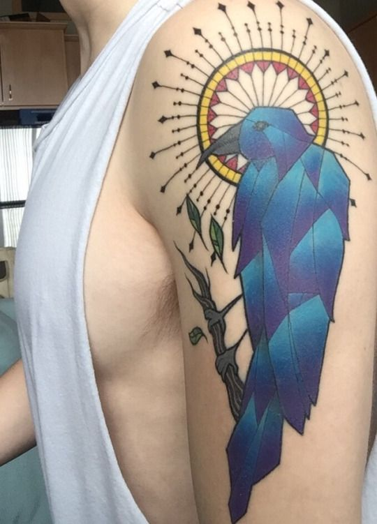 stained glass raven artist kelly bunde at mecca tattoo in mankato
